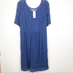 American Rag plus size 2X blue floral lace dress